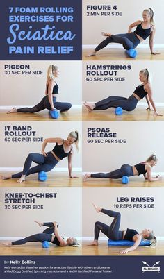 7 Foam Rolling Exercises for Sciatica Pain Relief Mobility Pain Relief Sciatic Nerve Relief, Hip Pain Relief, Sciatic Pain, Hip Flexor Exercises, Back Pain Exercises, Foam Roller Exercises, Sciatica Stretches, Yoga, Massage