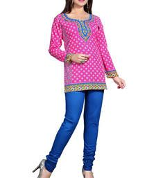 Buy Pink american crepe printed kurti short-kurti online