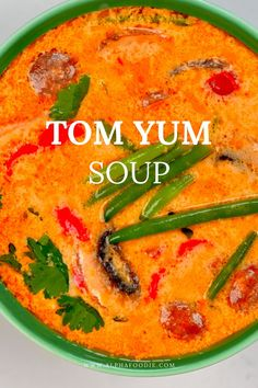 This is a simple yet delicious creamy tom yum soup: a Thai hot and sour soup that is aromatic, rich, spicy, and satisfying! Plus, this recipe is customizable, meat-free, and can be made vegan! Tom Yum Noodle Soup, Tom Yum Noodles, Thai Tom Yum Soup, Soup Recipes, Vegetarian Recipes, Healthy Recipes, Healthy Meals, Thai Hot And Sour Soup, Tom Yum Paste