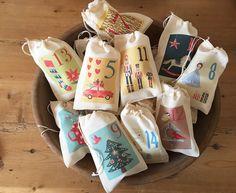 Festive Advent Calendar Christmas Bags - Colorful Holiday Bag Set - Countdown to Christmas - 25 Vintage 4x6 3x5