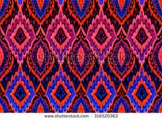 Seamless ikat pattern. Abstract ornaments in allover half drop composition.