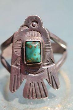Vintage Navajo Fred Harvey Era Sterling Silver & Turquoise Thunderbird Ring by Nan E Bug Navajo Jewelry, Bird Jewelry, Turquoise Jewelry, Tribal Jewelry, Jewelry Design, Turquoise Rings, Vintage Turquoise, Coral Turquoise, Vintage Silver Jewelry