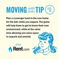 Moving to a new apartment with kids? Get more moving tips in the Rent.com Moving Center! #moving #move #apartment #renting #tip #children #kids