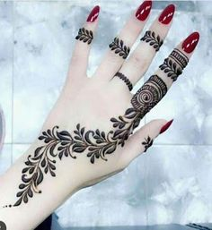 Henna Tattoo Designs - Easy Henna Tattoo Designs on Hand for Girl. Latest collection henna designs images gallery with simple and easy pattern on hand Henna Hand Designs, Eid Mehndi Designs, Mehndi Designs Finger, Mehndi Designs For Girls, Mehndi Designs For Beginners, Stylish Mehndi Designs, Mehndi Designs For Fingers, Mehndi Design Photos, Beautiful Mehndi Design