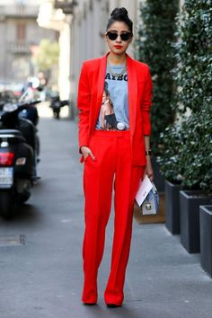 Red is the new black for women's suits.