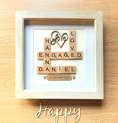 Engagement Gift. Engagement Present. Scrabble Wall Art Box Frame. Rustic Theme Gift For Couples by allthingslovegifts on Etsy
