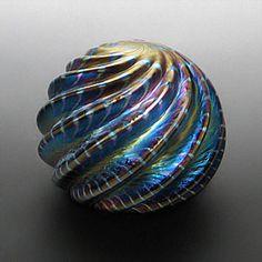 Cobalt iridescent swirl paperweight