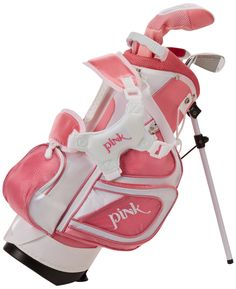 """Merchants of Golf Tour X Pink 3-Piece Junior Golf Complete Set with Stand Bag, Right Hand, Regular. Ages Under 5, size 0. Under 3'2"""" in Height. Durable construction."""