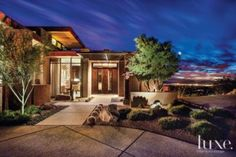 Like the minimalistic but stylish landscaping for the desert home - Nice for California homes too. - Brown Desert Front Exterior
