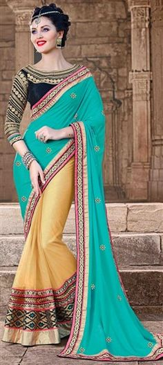 178518, Embroidered Sarees, Party Wear Sarees, Net, Faux Chiffon, Lace, Stone, Machine Embroidery, Resham, Green, Beige and Brown Color Family