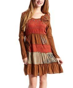 Look at this #zulilyfind! Pretty Angel Rust & Brown Patchwork Linen-Blend Peasant Dress by Pretty Angel #zulilyfinds