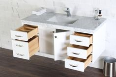 Abigail Naos, Cottage White Wall Mount Bathroom Vanity with Bianco Carrara Marble Top, The Vanity Store Canada Carrara Marble, Marble Top, Modern Bathroom Cabinets, White Vanity, Wall Mounted Vanity, Bathroom Vanities, White Walls, Sink, Cottage