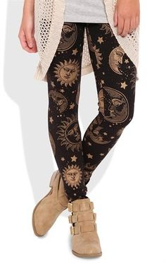 Deb Shops Leggings with Gold Sun Print