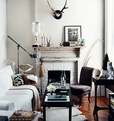 Styled Mantle, this room is one of my favorites..love everything about it, great lighting