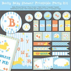Rubber Ducky Baby Shower Printable Party Kit by ThumbAlinaLane, $15.00