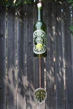 Wine Bottle Windchime - Grateful Dead Rose Skull - Green/Copper