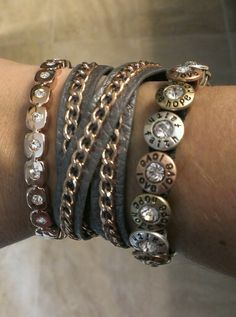 From Premeir jewelry My rose gold/leather bracelets