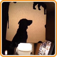 Lamp shades with dog sillouettes
