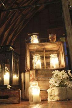 boite bois et pot mason avec lumiere