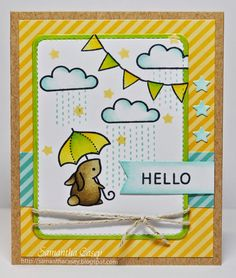 Samantha Casey: Lawnscaping Challenge #84- Stars and Stripes -  Materials Used: Blue Skies Hello Baby Let's Polka Stitched Journaling Card Gold Sparkle Single Cord
