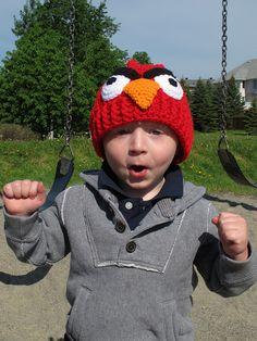 Another cute angry birds crochet hat pattern