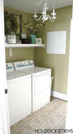 Laundry room- install a shelf above washer/dryer for more storage. Use cute baskets to hold supplies