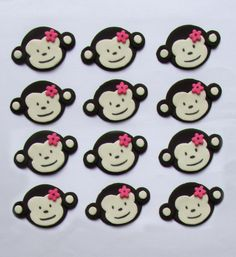 Fondant Cupcake Toppers  Mod Monkey by TopItCupcakes on Etsy, $16.99