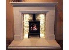 Woodburning stove with fireplace lighting