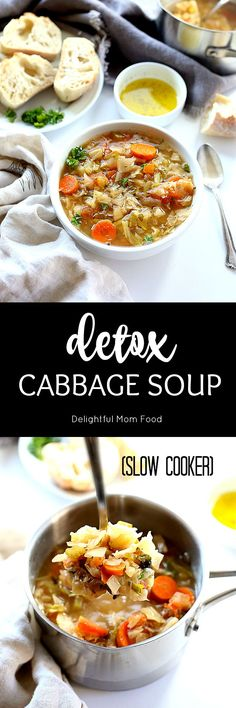 Detox Cabbage Soup Diet Recipe The best detox recipe: a filling and savory cabbage soup diet recipe! Feel lighter and cleaner with this Cabbage Soup to detox the body! Cabbage Soup Diet, Cabbage Soup Recipes, Diet Soup Recipes, Detox Recipes, Slow Cooker Recipes, Cooking Recipes, Healthy Recipes, Crockpot Cabbage Soup, Detox Foods