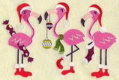 Very Merry Flamingo Christmas Embroidered on Kona Cotton Quilt Block // Plain Weave Cotton Dish Towel // Also Available on Other Items