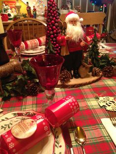 Close up of tablescape for Christmas Eve
