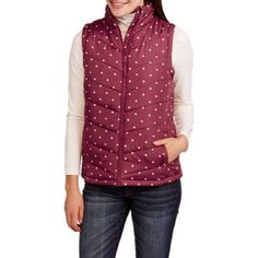 Maxwell Studio Women's Classic Puffer Vest, XL, Burgundy/Cream Dot