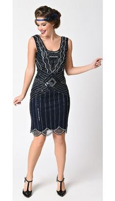 Frock and Frill 1920s Navy Blue & Silver Sequin Beaded Athena Flapper Dress
