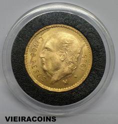 """1955  MEXICO   """"GOLD""""   5 PESOS   -  KM# 464    -     HIGH GRADE   -    #5221"""