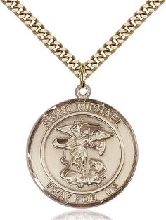 14kt Gold Filled Guardian Angel//EMT Pendant Gold Plate Heavy Curb Chain Patron Saint 1 x 3//4