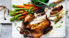 Classic roast chicken with buttered vegetables recipe