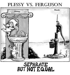 "Plessy vs. Ferguson  This 1896 U.S. Supreme Court case upheld the constitutionality of segregation under the ""separate but equal"" doctrine. It stemmed from an 1892 incident in which African-American train passenger Homer Plessy refused to sit in a Jim Crow car, breaking a Louisiana law."