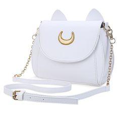 Kawaii Summer Sailor Moon Ladies Handbag Black Luna Cat Shape Chain Shoulder Bag PU Leather Women Messenger Crossbody Small Bag