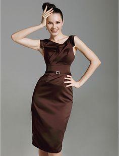 Stretch Satin Sheath/Column Knee-length Cocktail Dress  #00053096