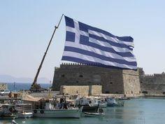 Huge Flag at Heraklion Port, Crete Island, Greece Greek Flag, Greek Girl, Crete Island, Heraklion, Crete Greece, Greek Islands, San Francisco Skyline, Cool Pictures, Earth