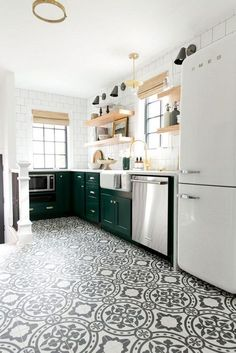 Modern Kitchen Design Patterned Tiled Floors and Green Cabinets! Denver Tudor Project - Studio McGee - We took a closed off, small, Tudor home and made it feel bright and open! Best Flooring For Kitchen, New Kitchen, Stylish Kitchen, Tudor Kitchen, Craftsman Kitchen, Kitchen Small, Kitchen Wood, Kitchen With Tile Floor, Kitchen Floor Tile Patterns