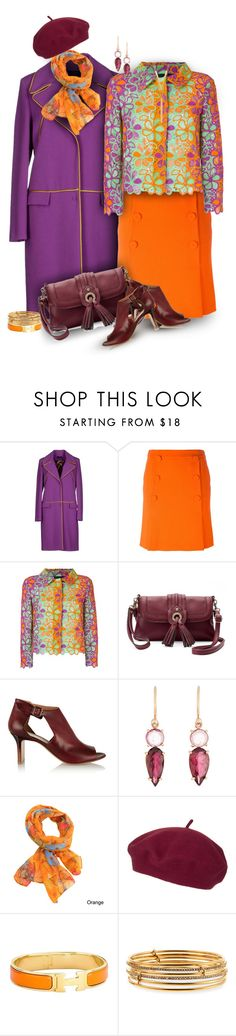 """Moschino Skirt & Jacket in Orange, Purple, Maroon"" by franceseattle ❤ liked on Polyvore featuring Trilogy, View, Boutique Moschino, Tig II by Tignanello, Maison Margiela, Irene Neuwirth, LA77, Topshop, Hermès and Kate Spade"