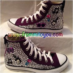 Custom Converse (Junk Chucks) Chuck Taylor with a Rock Star theme with rhinestones aka bling. Place an order at www.frommitoyou.com Custom Converse, Custom Shoes, Rock Star Theme, Chuck Taylors, Converse Chuck Taylor, High Top Sneakers, Sporty, Bling