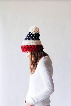 USA Patriotic Fair Isle Knit Slouchy Ski Hat With Pom Pom / THE ALPINE / Cranberry Fisherman Navy
