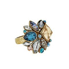 Sunset on the Seine   Cluster Ring   Fall 2013 Collection # jewelry brass abalone crystal sapphire hematite