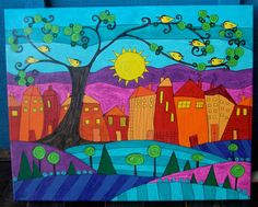 OOAK Whimsical Folk Art Landscape Painting by originalartbymicki, $225.00