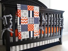 Navy Blue, Orange and Grey Custom Crib Bedding, Baby Bedding, Baby Boy Bedding
