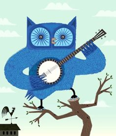 OWL AND BANJO ART PRINT