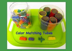 Cover toilet paper tubes with colored felt or construction paper in colors that match whatever sorting toy you have use as a matching game.