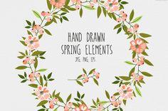 Hand drawn spring elements by lokko studio on Creative Market